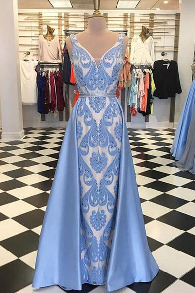2019 Prom Dresses | Blue satin V neck long halter evening dress, long beaded prom dress