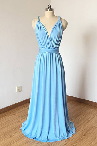 2019 Long Prom Dresses | Bright Blue Cross Back V Neck Long Prom Dress, Simple Bridesmaid Dress