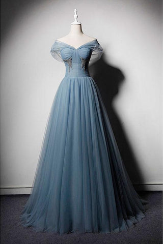 Blue Tulle V Neck Off Shoulder Long Senior Prom Dress, Evening Dress