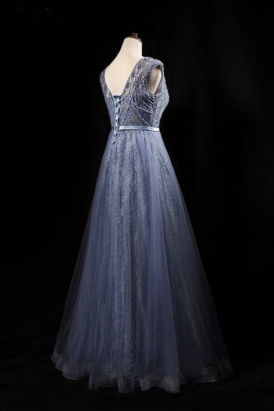 2019 Long Prom Dresses | Blue gray tulle scoop neck sheer sleeves long formal prom dress, long lace sequins evening dress