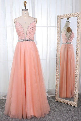 Pink Tulle Spaghetti V Neck Beaded Long Evening Dress, Prom Dress
