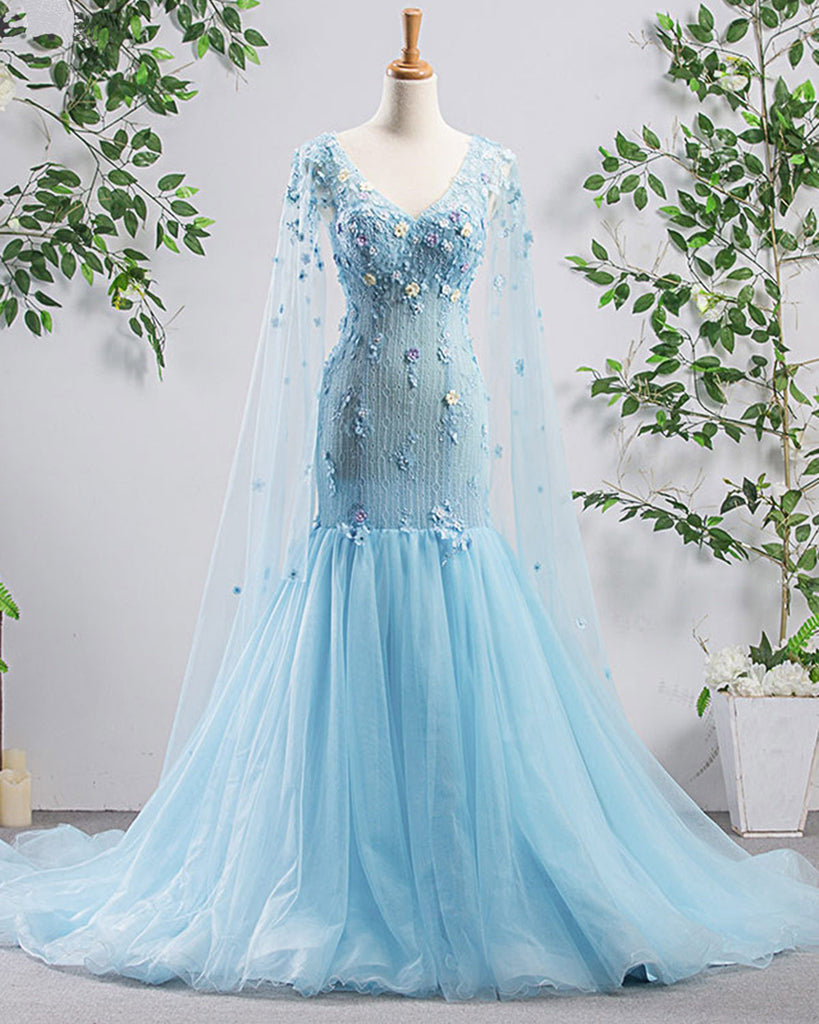Bright Blue Tulle V Neck Long Sleeve Mermaid 3d Lace Applique