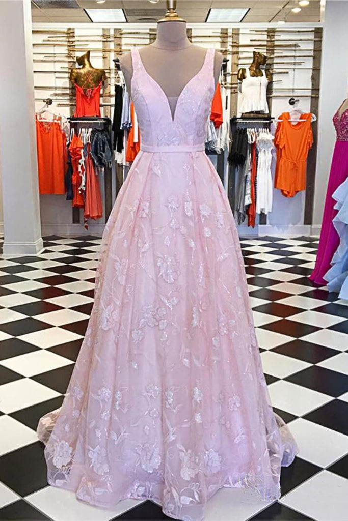 e74be96bb96 2019 Pink Lace A Line Long Cheap Formal Prom Dress