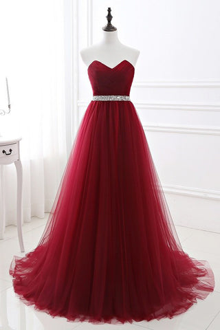 Sweet 16 Dresses | Burgundy Tulle Strapless Beaded Long A Line Prom Dress, Evening Dress