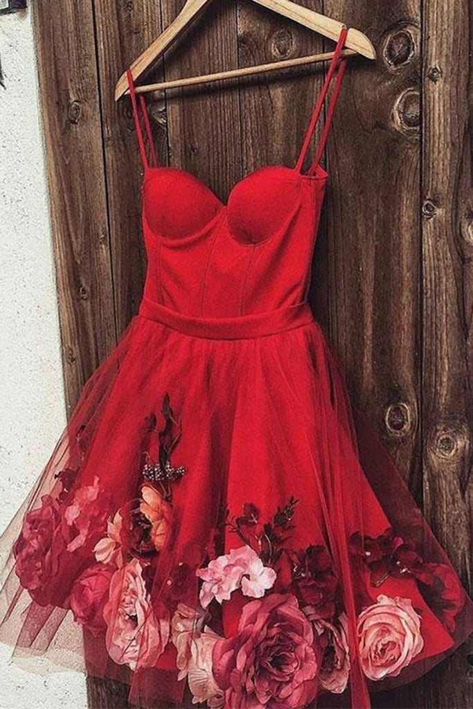 2019 Prom Dresses | Burgundy satin tulle short prom dress, homecoming dress with flower applique