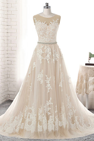 2019 Prom Dresses | Creamy Tulle Round Neck White Lace Applique Long Wedding Dress, Prom Dress With Beading