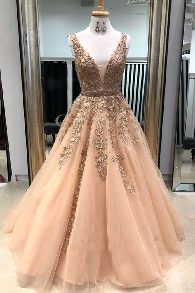 0f3c8f33d 2019 Prom Dresses | Champagne V Neck Long Tulle Lace Applique Prom dress, Evening  Dress