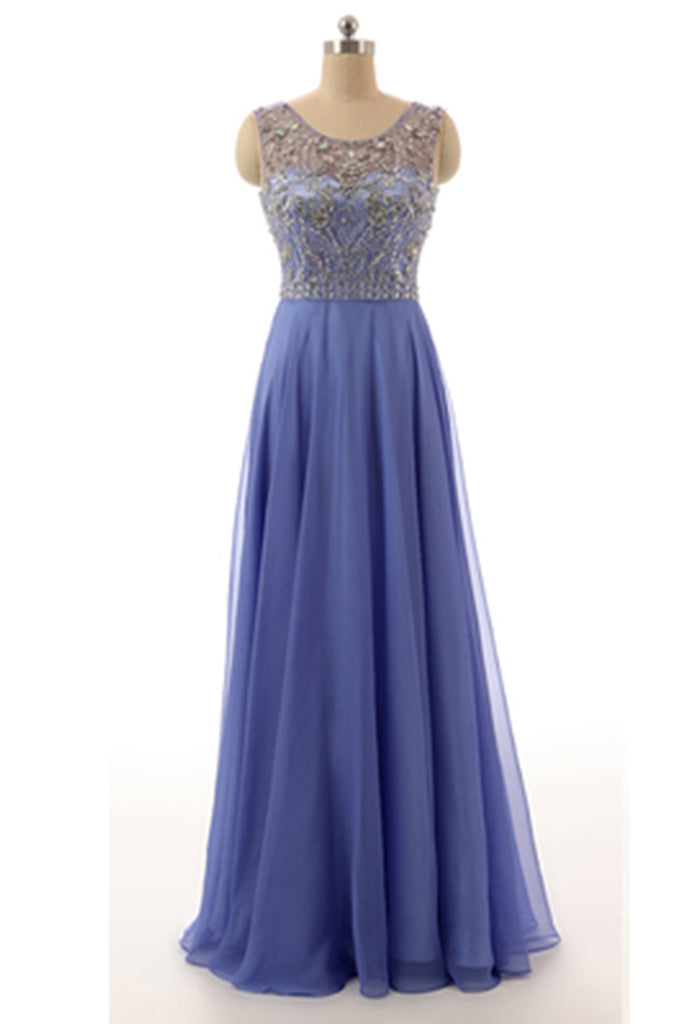 Prom 2020 | Light-purple chifffon  beading A-line  round neck long evening dress, formal dresses with straps