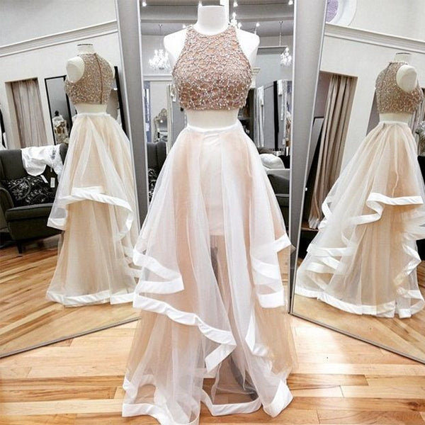 Sweet 16 Dresses | Ivory tulle two pieces scoop neck floor length silver sequins party dress