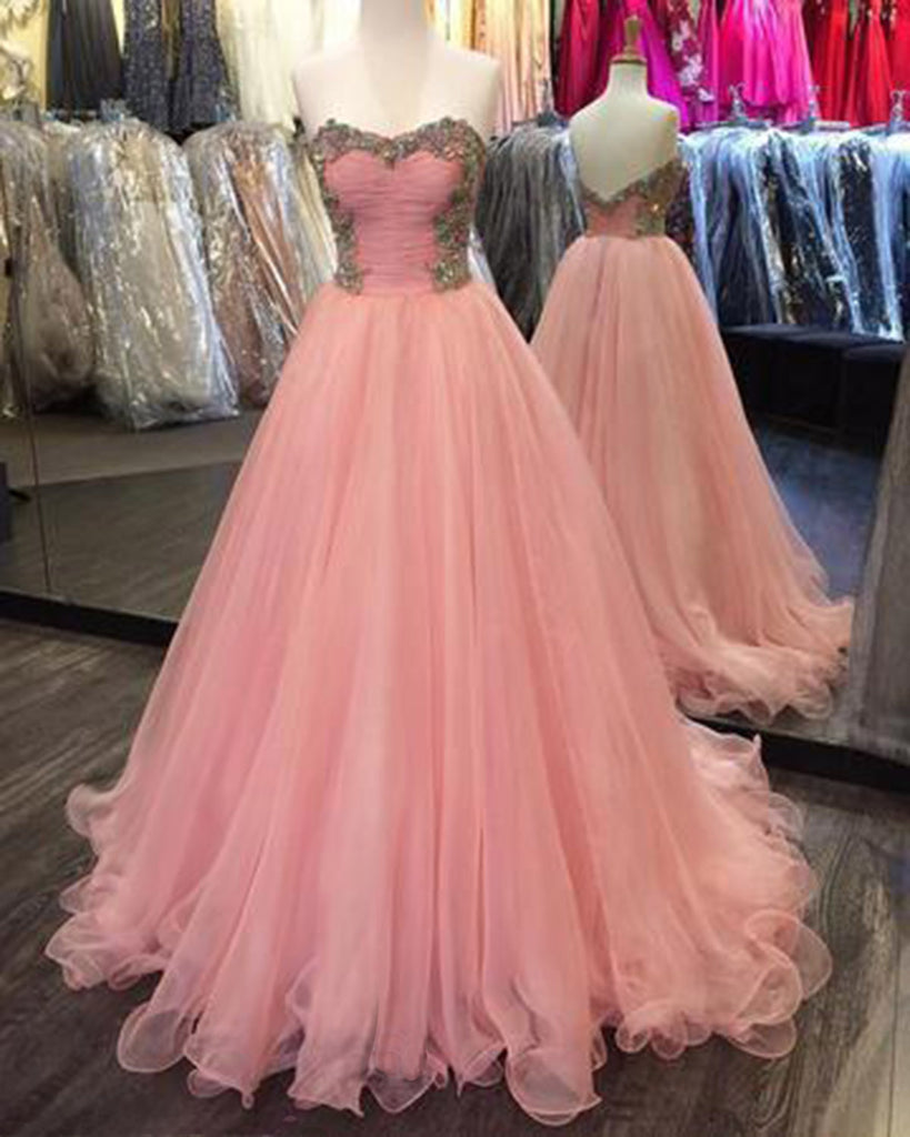 Orange pink tulle sweetheart long open back beaded formal prom dress ...