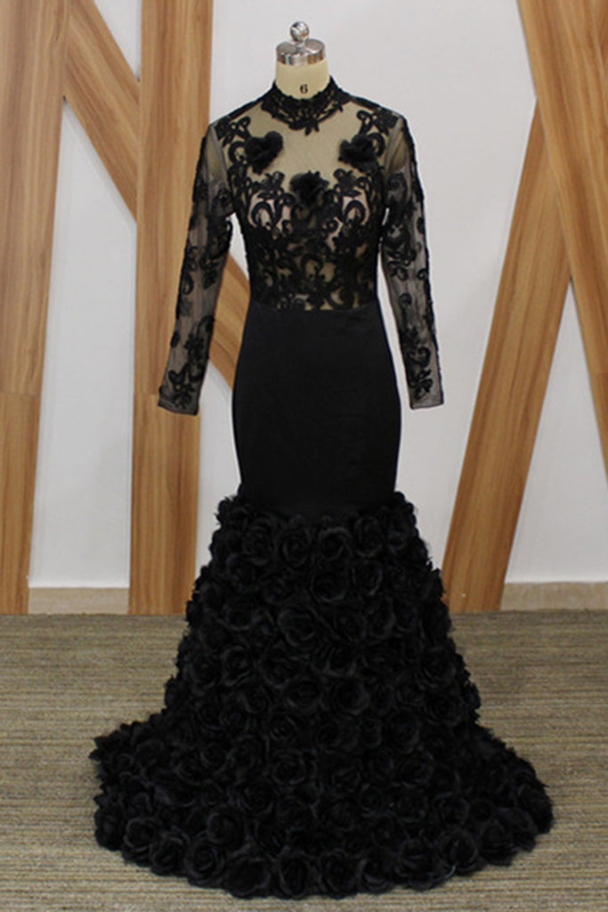 822abf55c57 Black Lace Open Back Long Mermaid Custom Made Prom Dress With Sleeves