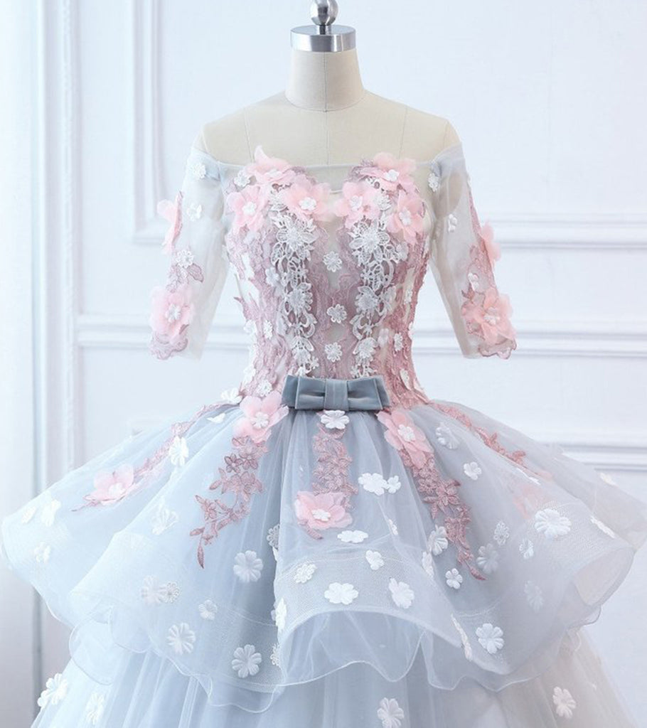 8b59ed9276d Gray Tulle Custom Made Floral Flower Long Quinceanera Dress