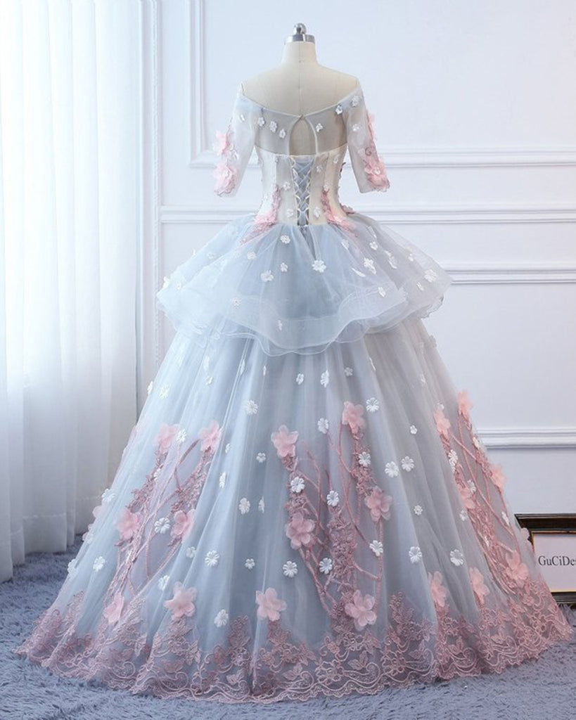 e492f3a159 Gray Tulle Custom Made Floral Flower Long Quinceanera Dress