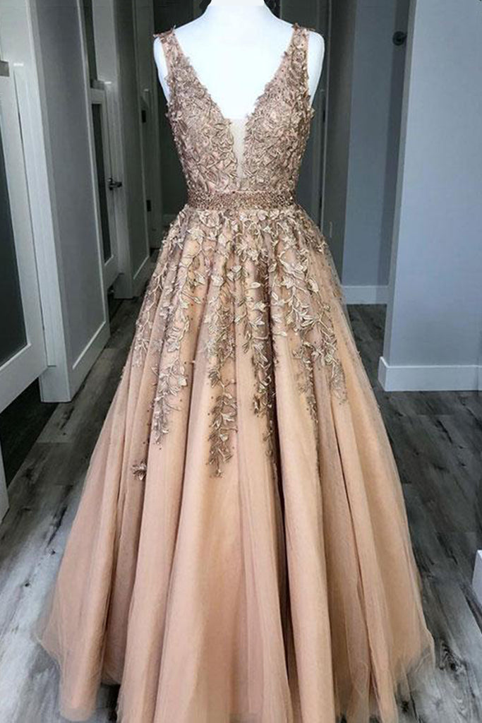 a9d0f1d2dc2 Champagne custom made v neck tulle lace long prom dress