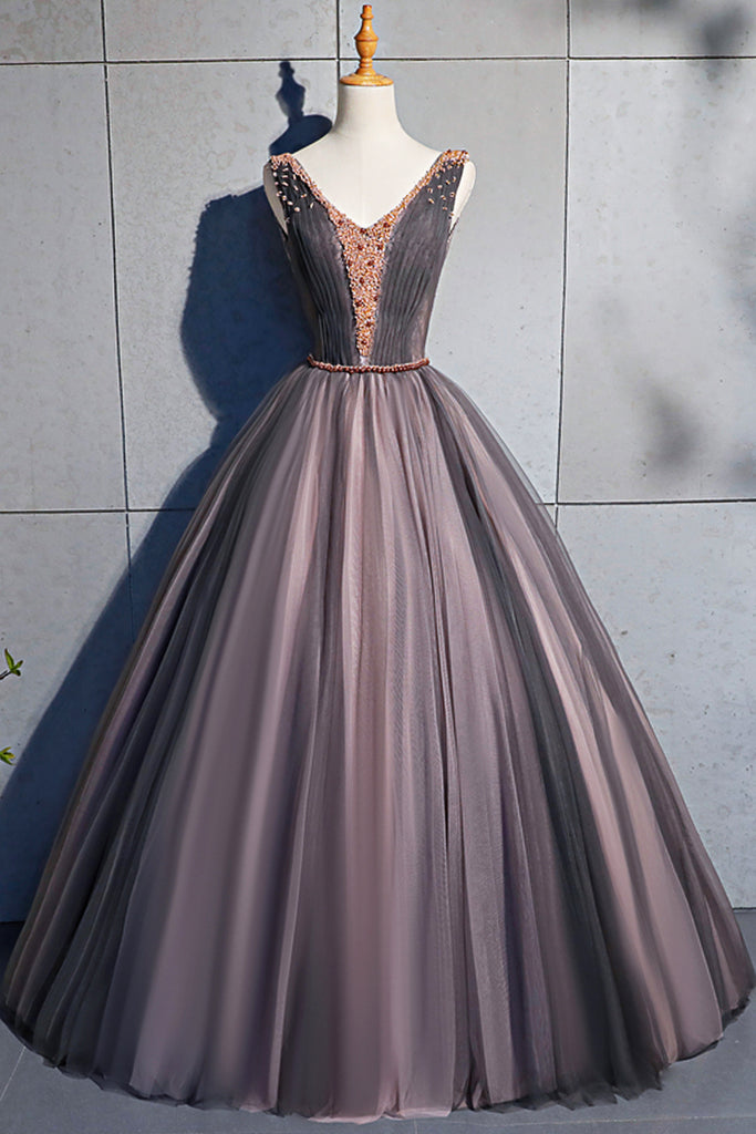 7c66d20def3a Coffee Tulle Crystal Beaded Long Lace Up Prom Dress