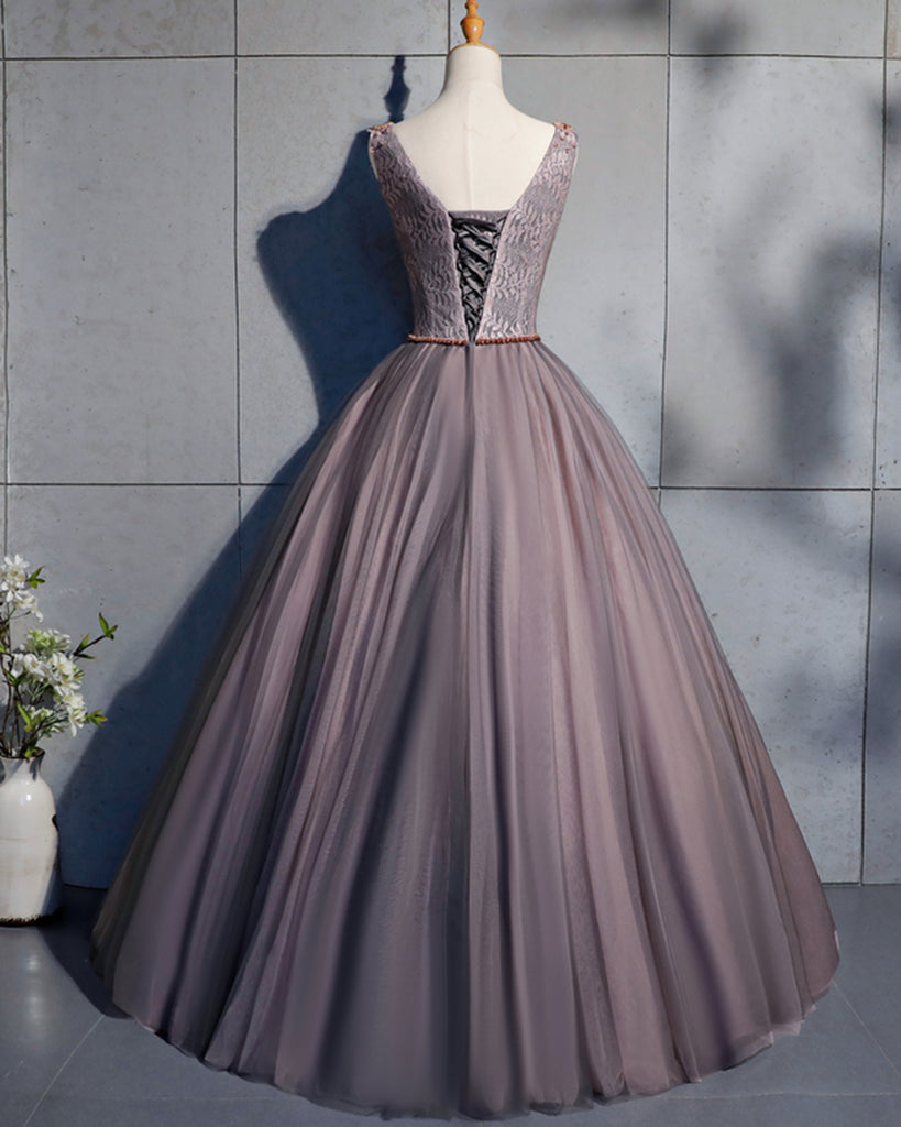 9fbb3d400851 Coffee Tulle Crystal Beaded Long Lace Up Prom Dress