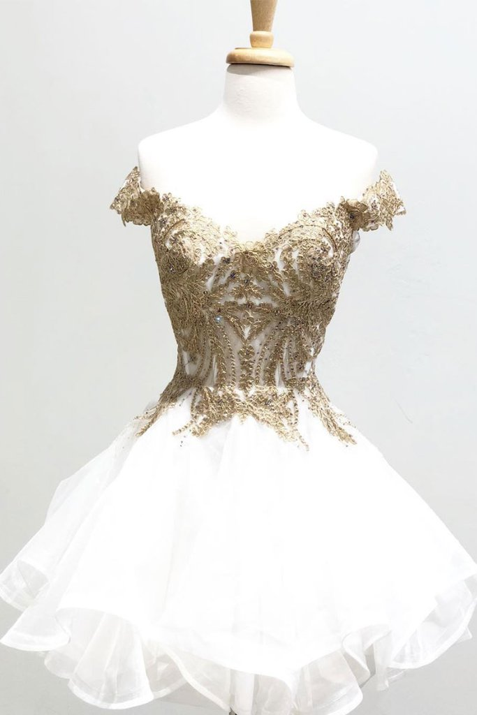 d0d75687463b2 White tulle off shoulder gold lace short layered prom dress, short A line  ...