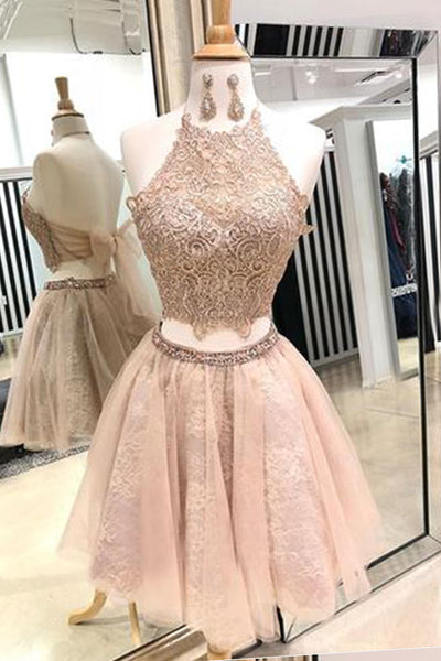 2019 Prom Dresses | Cute pink lace two pieces short prom dress, homecoming dress