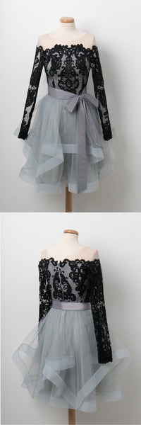 Sweet 16 Dresses | Black lace short layered A-line prom dress, party dress with sleeve