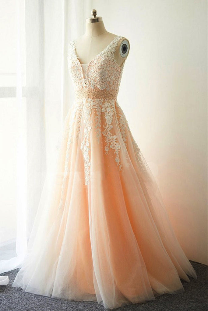 2019 Long Prom Dresses | 2019 Cute white lace long V neck evening dress, champagne tulle prom dress