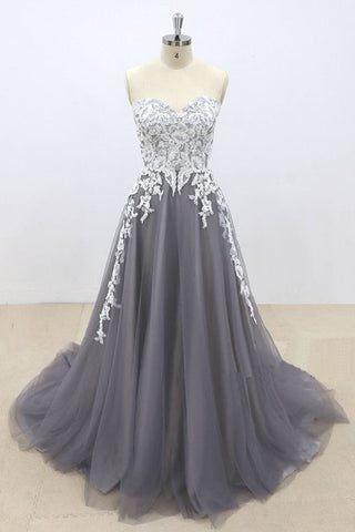 Dark Gray Tulle Ivory Lace Sweetheart Neckline A line Pageant Prom Dress, Evening Gown