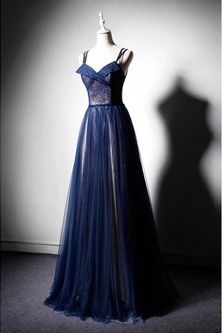 Navy Blue Tulle V Neck Long Women Prom Dress, Lace Up Evening Dress