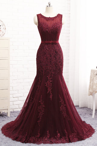 Sweet 16 Dresses | Burgundy Tulle Sequined Long Mermaid Senior Prom Dress With Bowknot