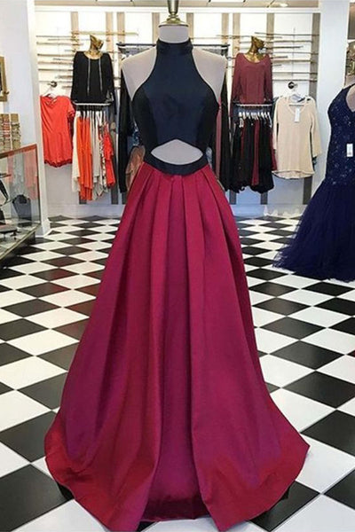 Sweet 16 Dresses | Burgundy black satin hollow out long strapless high neck prom dress for teens, long party dresses