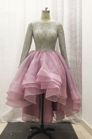 Stylish long sleeves beading high low layer prom gown, pink tulle party dresses