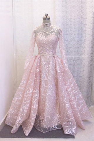 Dreamy pink long sleeves long A-line evening dress, formal bridal dress, prom dress