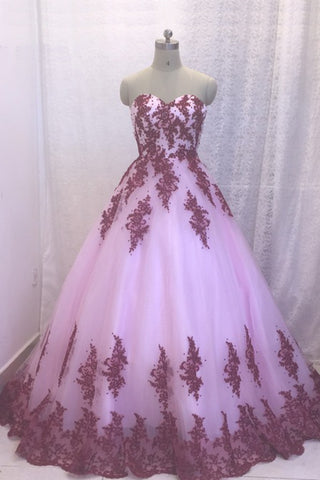 Unique strapless pink tulle long A-line formal prom dress, long lace appliqués evening dresses