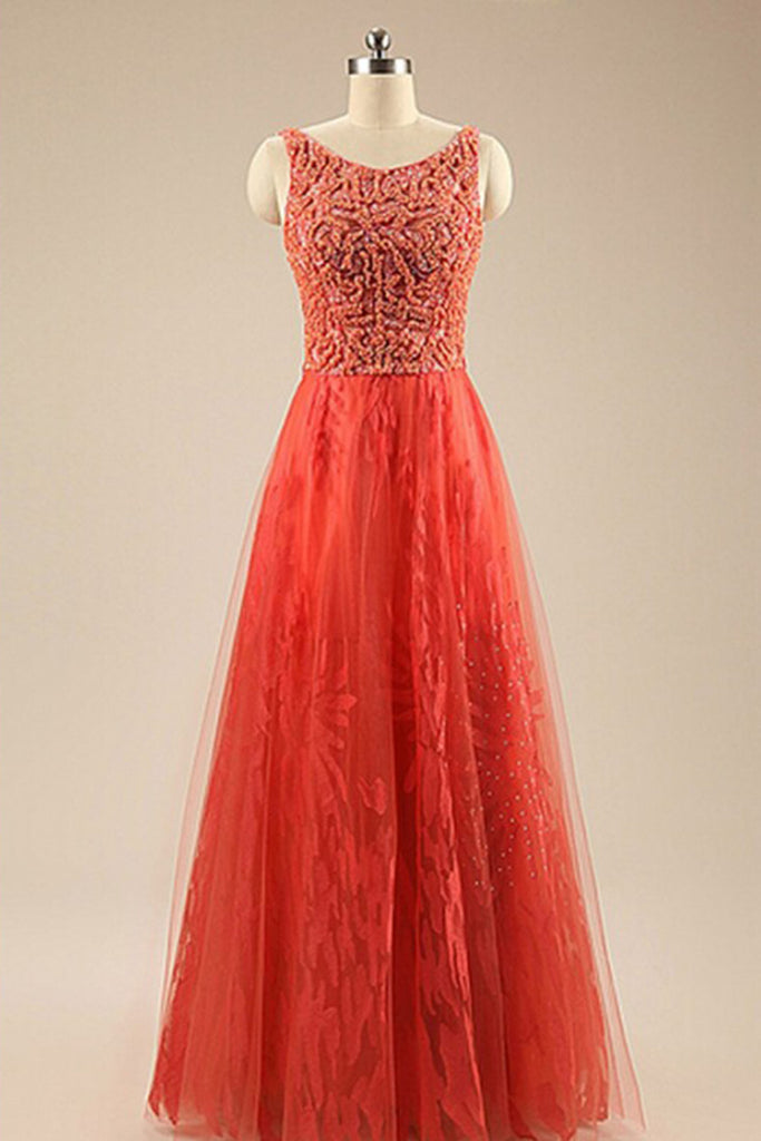 Orange tulle lace round neck long dress,beautiful homecoming dresses ...