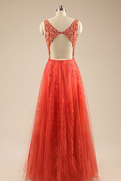 2018 evening gowns - Orange tulle lace round neck long dress,beautiful homecoming dresses
