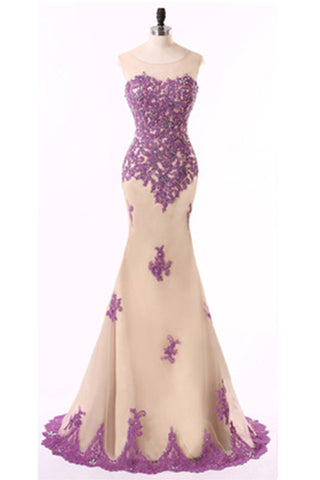 Lavander lace chiffon mermaid floor -length prom dresses, sweetheart evening dresses - Sweetheartgirls