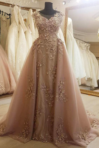 Sweet 16 Dresses | Deep champagne tulle cap sleeve long formal prom dress, evening dress with applique