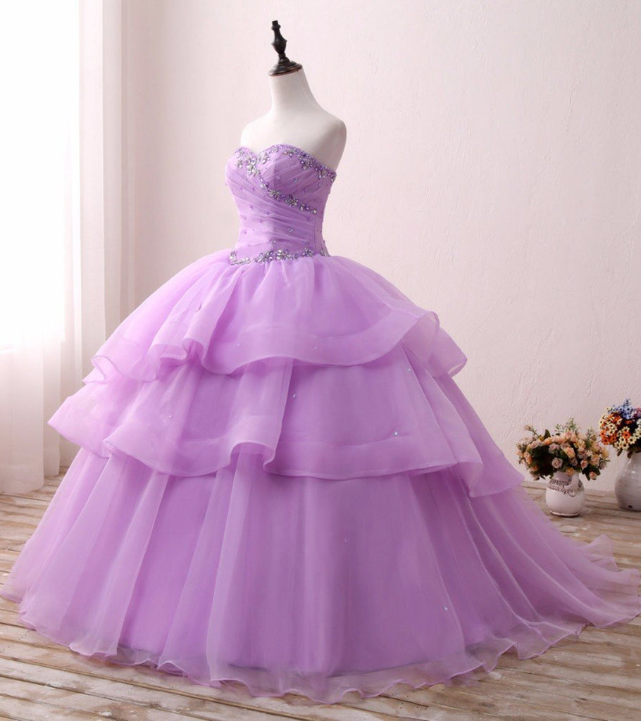 ab91e7d4737 Sweetheart Lavender Tulle Beaded Quinceanera Prom Dress
