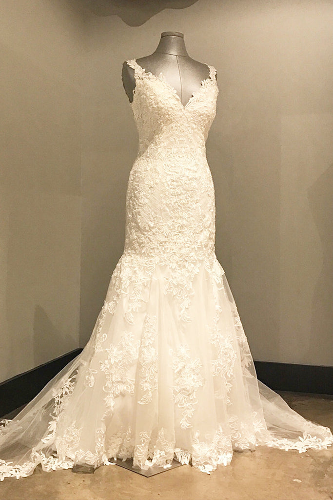 Elegant ivory lace long V neck mermaid open back wedding dress ...