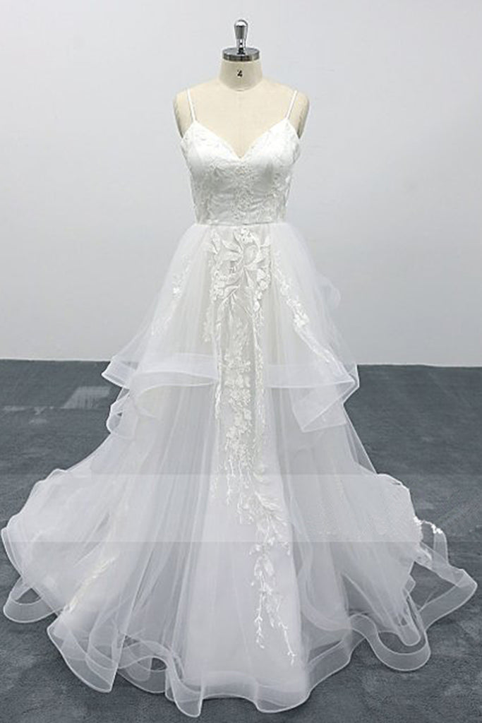 White Lace Layered A Line Thin Straps Fairytale Wedding Dress V Back Formal Prom Dress
