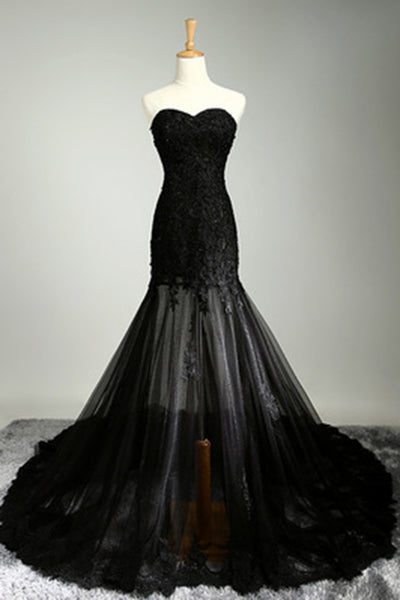 Prom 2020 | Black tulle lace sweetheart see-through mermaid floor length prom dresses evening dresses