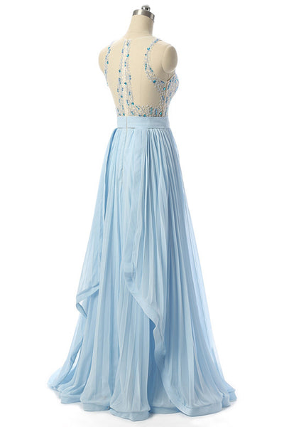 Sweet 16 Dresses | Stunning blue sequins and beaded long handmade pleated senior prom dress