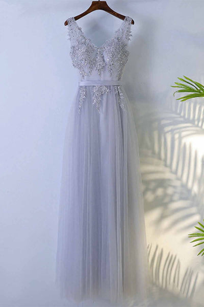 Sweet 16 Dresses | Blue gray tulle V neck long beaded senior prom dress with lace appliqué