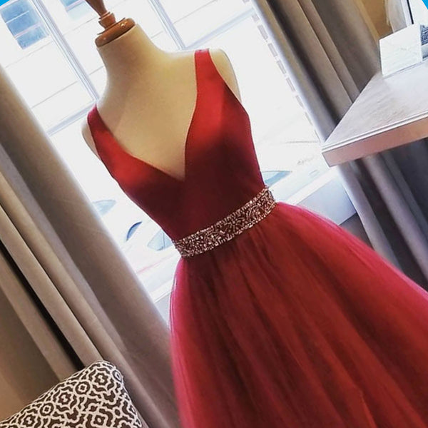 Sweet 16 Dresses | Burgundy tulle V neck beaded belt long evening dress, burgundy long prom dress