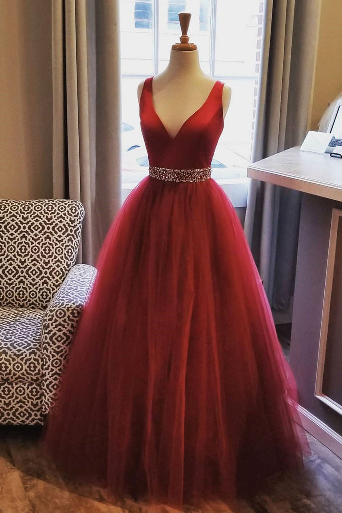 2019 Prom Dresses | Burgundy tulle V neck beaded belt long evening dress, burgundy long prom dress