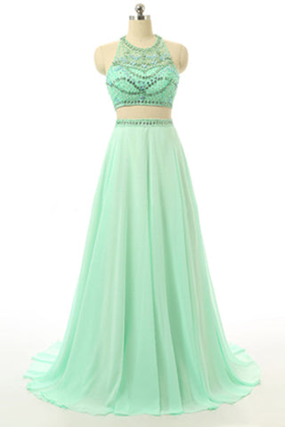 Prom 2020 | Elegant green chiffon beaded two pieces halter long prom dresses open back evening dress with spaghetti straps
