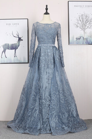 New Arrival Long Sleeves Embroidered Evening Dress Beaded Long Formal Prom Dresses
