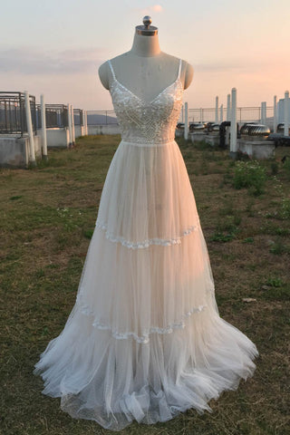 Ivory Beach Wedding Dresses Prom Dress V Neck Spaghetti Strap Bridal Gowns Bohemian Country Wedding Gown