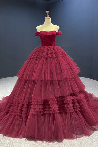 Wine Red Tulle Off Shoulder Strapless Long Evening Dress Backless Prom Dress Cocktail Dress