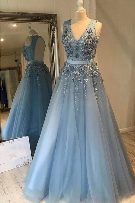 Sky Blue Tulle Prom Dress Open Back V-Neck Long Evening Dresses 2021 Appliqued Formal Party Dress