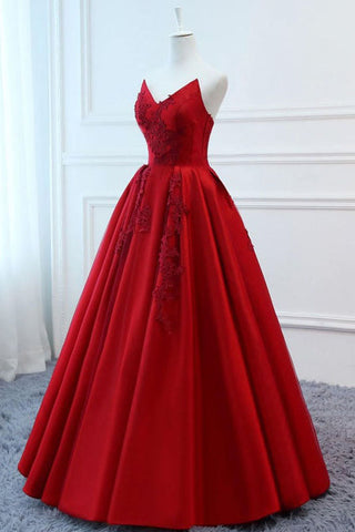 Red V Neck Strapless Appliques Long Evening Dress Lace Up Prom Dress for Women
