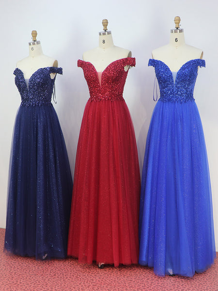 Simple Royal Blue Long Prom Dresses Off the Shoulder Beaded Tulle Formal Party Dress